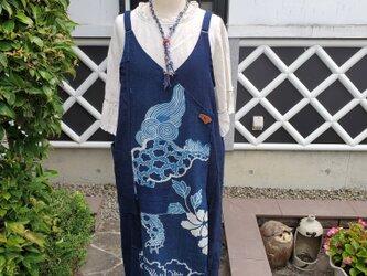 着物リメイク 古布 手作り BORO 襤褸 藍無地と筒描き ジャンパースカートの画像