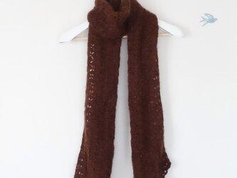 モヘアの透かし編みマフラー(茶色)の画像