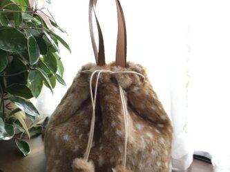 バンビ柄エコファーの2wayバッグの画像