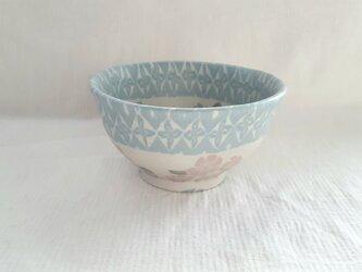 花模様 飯碗 マット釉薬の画像