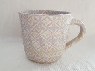 練上 マグカップ 花菱文 ピンク マット釉の画像