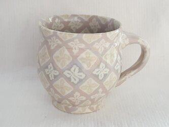練上 丸マグカップ小 花菱文PG 透明釉の画像