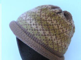 草木染毛糸の手編み帽子 AD-270の画像