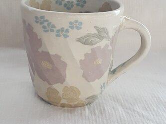 練上 牡丹薔薇 マグカップ 透明釉の画像