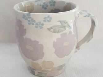 練上 牡丹薔薇  丸マグカップ 透明釉の画像