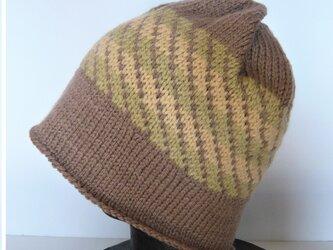 草木染毛糸の手編み帽子 AD-276の画像