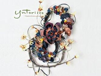 【温もり】紬のお花の壁掛けの画像