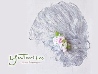 お花の髪飾り ガーデンブロッサム ピンク パーティー、結婚式二次会、着物、浴衣、入学式にの画像