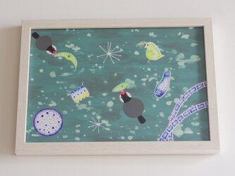 額入り絵画「びよーん」プランクトン 文鳥 鳥 原画 アクリルの画像