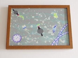 額入り絵画「びよーん NO.2」 プランクトン 文鳥 鳥 原画 アクリルの画像