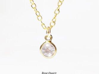 【10月誕生石】輝く1粒。ローズクォーツのネックレス [送料無料]の画像