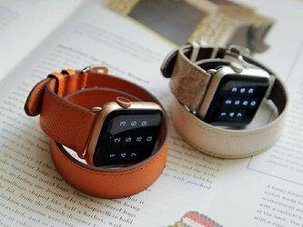 【新作】高級革使用のApple Watchベルト 2重巻きタイプ 時計ベルト オレンジ レザー 腕時計 革ベルト 皮 革の画像