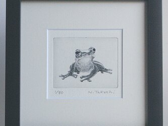 かえる・M/銅版画 (額あり)の画像