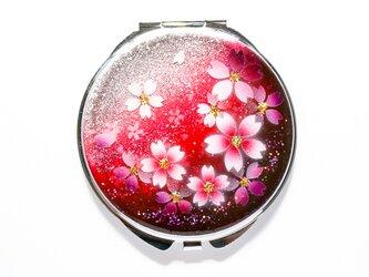 鏡  丸ミラー 紅桜 コンパクトミラー 銀箔の画像