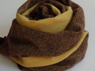 手織りカシミアストール・・ひまわりのワンストライプの画像