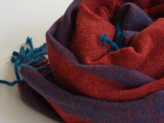手織りカシミアストール・・レンガ色のワンストライプの画像