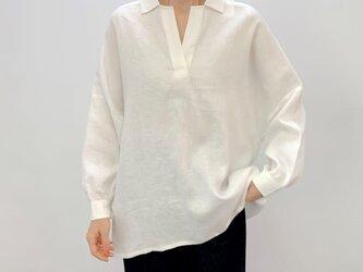 en-enリネン・ビッグなスッキパーシャツ オフホワイトの画像