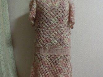 チュニックベスト*アンゴラモヘアの手編みチュニックの画像