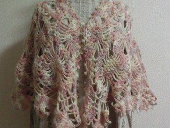 ショール*アンゴラモヘアの手編みショールの画像