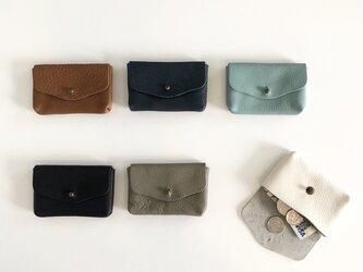 牛シュリンクレザーと牛床ベロアのコンパクト財布【6色】の画像
