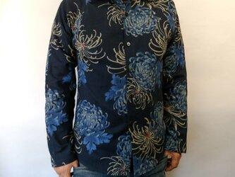 長袖和柄シャツ(菊模様)の画像