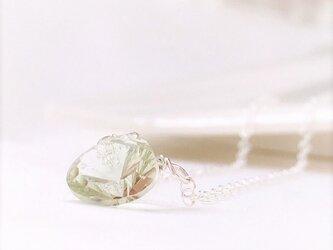 宝石質<グリーンアメジスト> 綺麗なコンケーブカットのマロン型 シンプルネックレス SV925 AAAランクの画像