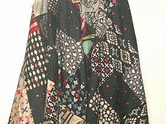 sold Out着物リメイク♪モノトーン銘仙色々イレギュラーヘムスカート♪ハンドメイド・オリジナル・の画像