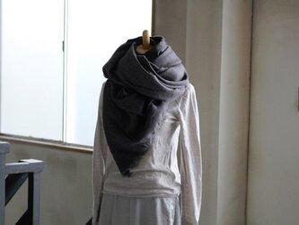 【冬NEW】手染めリネンウールの大判ストールW110 の画像