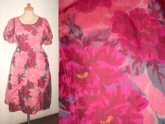 Sold Out着物リメイク♪牡丹が素敵な銘仙ワンピース♪ハンドメイド・花柄・ピンク・シルクの画像