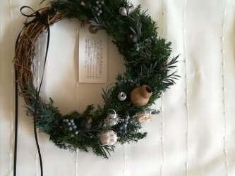 【受注製作】ヒムロスギの深い森wreath(リース プリザーブドフラワー ドライフラワー アンティーク)の画像
