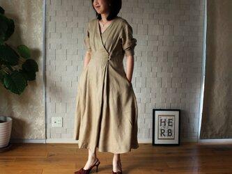 【新作】リネン セレモニードレス 五分袖 ベージュの画像