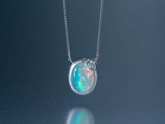 Welles オパールとダイヤモンド 小花のネックレス / Pt950の画像