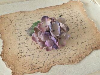 染め花の秋色紫陽花のコサージュ(薄紫)の画像