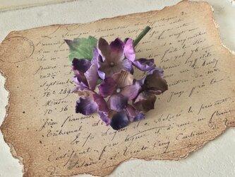 染め花の秋色紫陽花のコサージュ(パープル)の画像