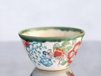 花と蝶絵の飯椀(大)(緑の縁取り)の画像