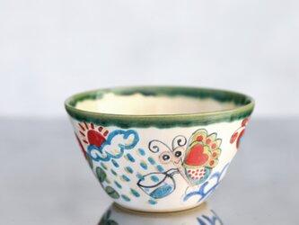 花と蝶絵の飯椀(大)(緑の縁取り)Ⅱの画像