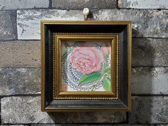 最新作 原画 肉筆 一点もの ボールペンアート 額装付き 百貨店作家 人気 ボールペン画 絵画 薔薇 バラの絵の画像