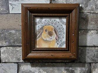 原画 一点もの ボールペンアート 額装付き 百貨店作家 人気 ボールペン画 絵画 ロップイヤー うさぎ ウサギの絵の画像
