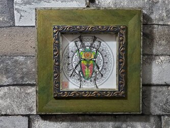 原画 一点もの ボールペンアート 額装付き 百貨店作家 人気 ボールペン画 絵画 ニジイロクワガタ クワガタの絵の画像