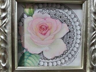 原画 一点もの ボールペンアート 額装付き 百貨店作家 人気 ボールペン画 絵画 バラ 薔薇の絵の画像