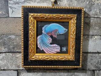 原画 一点もの ボールペンアート 額装付き 百貨店作家 人気 ボールペン画 絵画 ベタの絵 淡水魚 ベタ 開運の画像