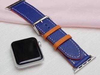 高級腕時計 ベルト アップルウォッチバンド フランス産高級レザ ブルー エプソンレザー メンズ レディースの画像