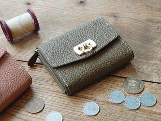 【最新作】柔らかい高級革使用 可愛い オシャレな ミニウォレット ミニ財布 トゴ革 コンパクト エトゥープ 小物入れの画像