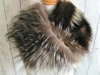 ¶ new antique fur ¶ ブルー/シルバーフォックス/スカンクミックスファーnejiriスヌードの画像
