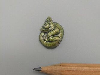 動物石 カメレオン(黄緑色)の画像