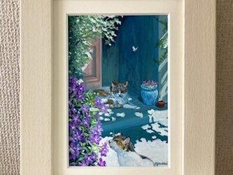 ポストカードサイズ、猫の絵【しあわせなとき】の画像