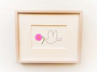 「幸せを運ぶ(ガーベラ)」イラスト原画 ※木製額縁入りの画像