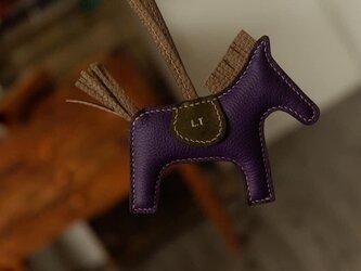 【ハンドメイド】 高級革使用 パープル バッグチャーム ロデオチャーム レザー トゴ革 レディース 可愛いの画像