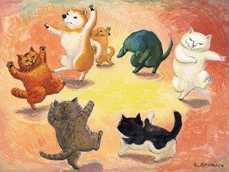 カマノレイコ オリジナル猫ポストカード「おどり」2枚セットの画像