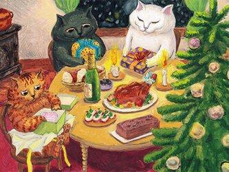 カマノレイコ オリジナル猫ポストカード「クリスマスの夜」2枚セットの画像